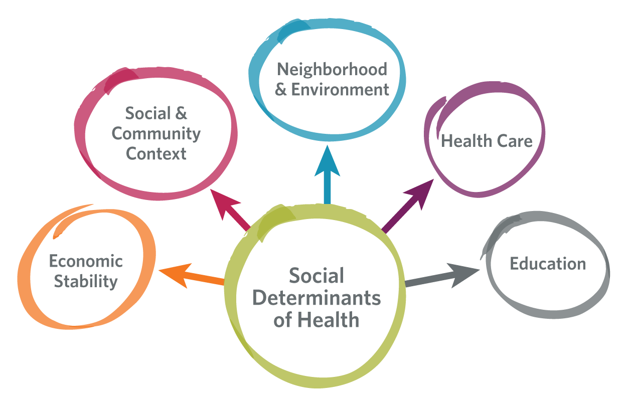 Social Determinants of Health map graphic of its benefits | Demographics & Research from Detroit Area Agency on Aging